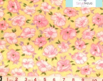 Yellow and Pink Floral FLANNEL Fabric, 1 yard