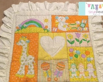 VintageOrange and Yellow Baby Blanket/Comforter