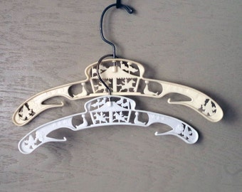 1950s Children's Hangers - Vintage White / Plastic and Metal / Set of Two Circus Hangers
