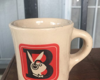 BUNNY Mug Tepco USA China Vitrified China B Mug Very Heavy Diner Mug Coffee Cup