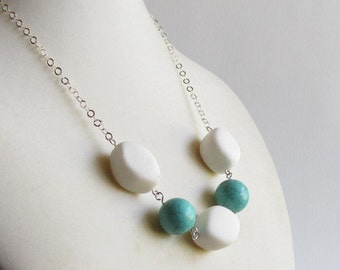 Aqua and Blue Necklace - Quartzite and Turquoise Blue Magnesite - Chunky Handmade Necklace - Wholesale Jewelry