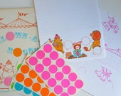 Vintage 1980s Children's Circus Print Stationery Set by Current