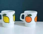 Set of Two Vintage Anchor Hocking Milk Glass Mugs with Fruit Prints