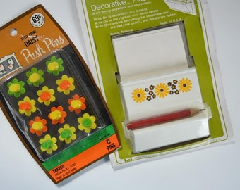 Vintage 1960s 1970s Set of Office Supplies - Daisy Push Pins and Memo Holder - In Original Packaging