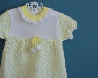 Vintage Yellow and White Knit Baby Girl Shirt with Pom Poms - Size 12-18 Months