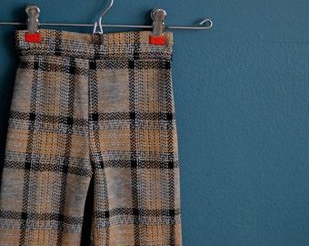 Vintage Gray and Black Plaid Pants - Size 12 Months