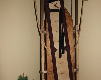 Primitive Snowman quilted wall hanging