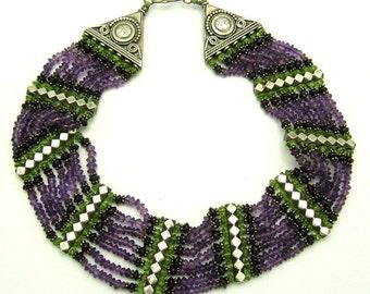 Stunning Amethyst Garnet Peridot Sterling Silver Vintage Bib Necklace