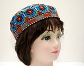 FOR SALE Uzbek Traditional skullcap, cap duppi, cap, hat, header, suzani cap, blue, burgundy, rug cap carpet cap, tatar, silk embroidery