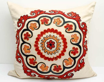 SALE FOR 20x20 fully silk handmade embroidery suzani pillow cover, a great quality suzani, suzani cushion, suzani embroidery, suzani pillows