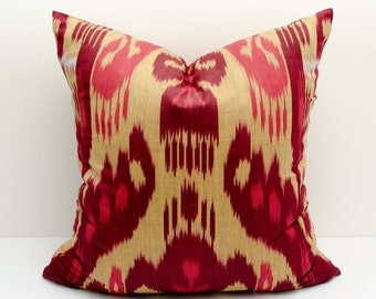 "18x18"" red burgundy cream ikat pillow covers, ikat pillow, red cushion, case, cotton pillow cover, decorative pillow, design, red pillows"