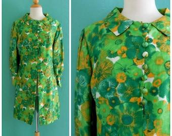 60's green floral silk coat ~ small medium