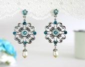 Blue wedding earrings, Wedding earrings, Blue earrings, Blue wedding, Something blue wedding, Blue wedding jewelry, Blue dangle earrings