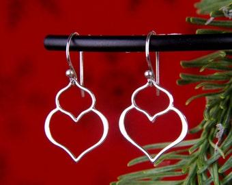Small double lotus petal pendant earrings in sterling silver, lightweight, flower earrings, teardrop earrings, curvy, abstract