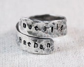 Personalized Mothers Ring Hand Stamped Ring Morhers Name Ring Wrap Ring Custom Ring Sterling Silver Ring