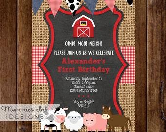 Farm Birthday Invitation, Farm Animals Invite, Farm Invite, Farm Party, Chalkboard Farm Invite, Burlap Invitation, Gingham Farm Invitation