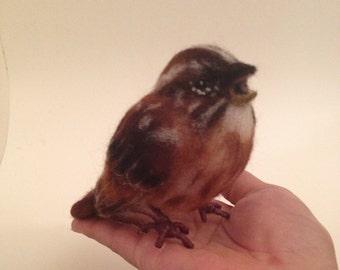 Song Sparrow Bird Felt Animal Needle-Felt Sculpture Collectible Nursery Gift