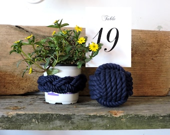 Navy Blue Nautical Monkey Fist Table Card Holder Navy Rope 5 Across No Roll Number Holder
