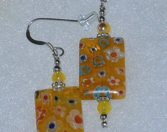 Halloween SPECIALS 925 Sterling Silver Yellow Millefiori Glass  Dangle Earrings