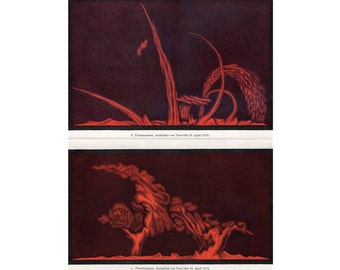1894 SOLAR SUN LITHOGRAPH sun prominence original antique celestial astronomy print - double page