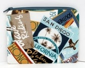 Zippered Pouch Bag Small, Beach Vacation, San Diego Change Purse