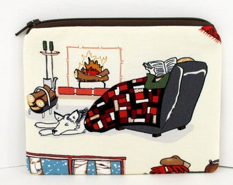 Small Zipper Pouch, Winter Pleasure Reading, Fireplace, Dog, Books Coin Purse