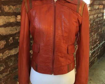 Rust 1960s fitted leather motorcycle jacket