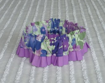 "Amethyst Floral Dog Collar Scrunchie with pleated trim - Size S: 12"" to 14"" neck"
