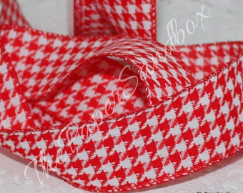 """Wired Red Houndstooth Ribbon, 1.5"""" wide by the yard, Wired Ribbon, Red Wired Trim, Wreaths, Christmas  Ribbon, Gift Wrapping, Party Supplies"""