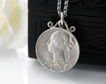 Victorian Sterling Silver Jubilee Medal | 1887 Victorian Golden Jubilee Medallion | Silver Medal Pendant - 34 Inch Long Chain Included