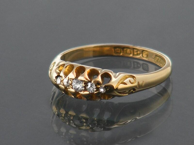 Antique Diamond Ring 1904 Edwardian Engagement Ring