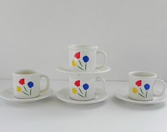 Pfaltzgraff Marimekko Cup and Saucer. Three Flowers Pattern. Four Sets Available.