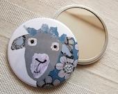 Sheepish Mirror. Sheep mirror. Pocket Mirror. Hand Mirror. Compact. Stocking Filler. Gift