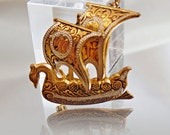 RESERVED for Spiritlander Vintage Damascene Ship Brooch Spain Spanish Ship Armada