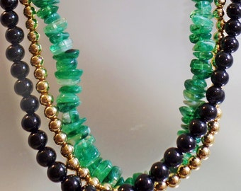 Vintage Three Strand Beaded Necklace.  Faux Green Jade, Gold and Black Lucite Bead Necklace.