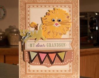 "Handmade Birthday Card - Young Grandson - 5"" x 7"" - Die-Cut Pennants, Cat & Lion with Google Eyes - OOAK"