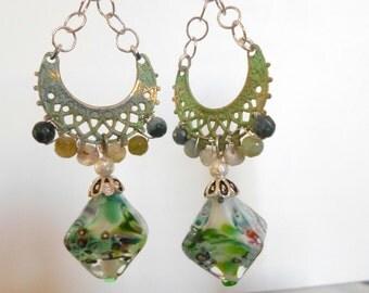 Lampwork Earrings, Mixed Media Earrings, OOAK lightweight Bohemian Handmade Glass Earrings, Bohemian Autumn Fashion Artisan Jewelry for Her