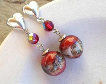 Lampwork Earrings, Handmade Jewelry, Glass Beaded Earrings, Lampwork jewelry Christmas Gift for her...