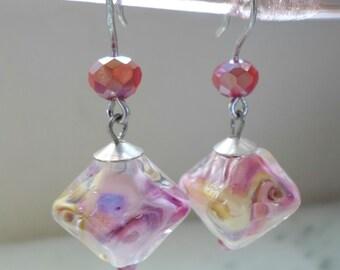 Lampwork Earrings, Handmade Jewelry, Spring Fashion Pastel Glass Earrings, Glass Beaded Unique Lampwork Jewelry for Her