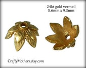 2 Bali 24kt Gold Vermeil Double Leaf Bead Caps, 5.6mm x 9.3mm (bright gold finish), Artisan-made