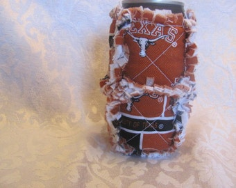Texas Longhorns Inspired 12oz Beer/Pop Can Cover/ Cozy / Cozie/ Can Holder/ Rag Quilted Beer Cozy Pop Cozy