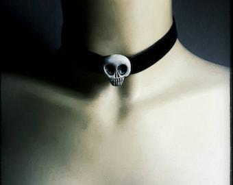 choker - victorian, anatomy, skull, wearable art, vanitas, skull, handpainted, gothic, mourning, momento mori, victorian, ooak