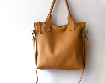 ON SALE Tan camel leather tote - Handbag - Cross-body bag - Every day bag - Women bag - Shoulder leather bag