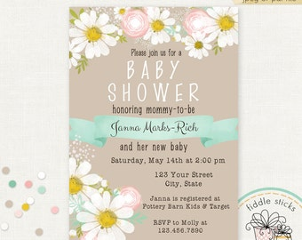 Printable Daisy Invitation, 4 x 6 or 5 x 7, Baby Shower, Bridal Shower, Wedding, Birthday, Customized with Your Wording, JPEG or PDF File