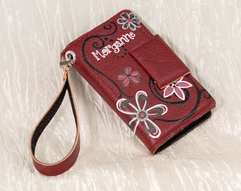 Personalized Hand Painted iPod or Smart Phone Case with Wristlet Strap
