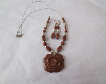 Goldstone Rose Necklace and Earring Set