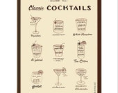Classic Cocktails Guide, Mad Men Era Drinks, Mid Century Modern, Black and White, Illustration Art Print, Vintage Style, Poster Art, Bar Art