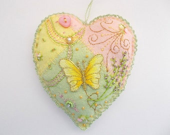 Felt Ornament Patchwork Heart with Butterfly Flower Sequins Bead Embroidery Rose Montee Crystal Fresh Water Pearl Swirls  One of a Kind
