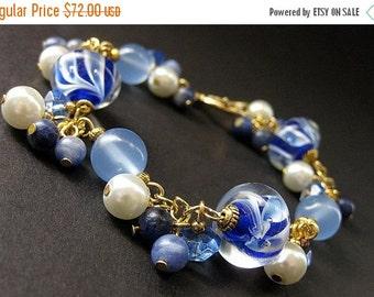 HALLOWEEN SALE Blueberry Swirl Lampwork Glass and Chalcedony Charm Bracelet. Handmade Jewelry by Gilliauna