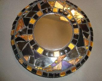 MOSAIC MIRROR, Round Mirror, Black and Gold, Wall Art, Home Decor